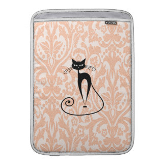 Adorable cheerful charm black cat damask vintage MacBook sleeve