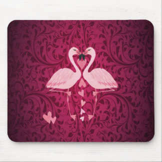 Adorable cheerful charming flamingo in love mouse pad
