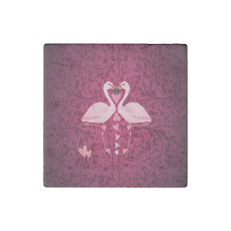 Adorable cheerful charming flamingo in love stone magnet