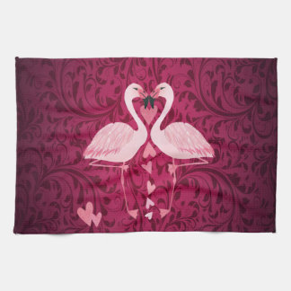 Adorable cheerful charming flamingo in love towel
