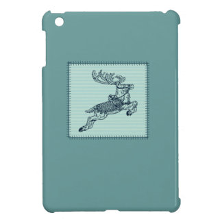 Adorable cheerful Christmas reindeer patchwork Cover For The iPad Mini
