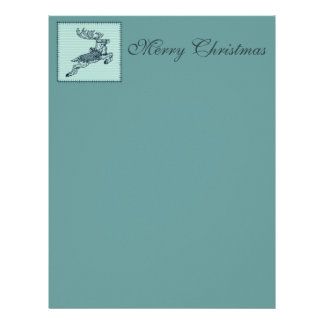 Adorable cheerful Christmas reindeer patchwork Letterhead