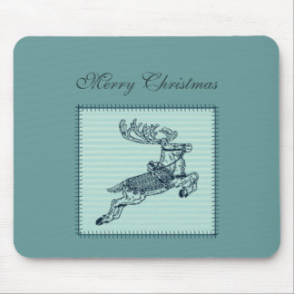 Adorable cheerful Christmas reindeer patchwork Mouse Pad