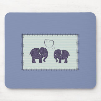 Adorable cheerful cute elephant in love mouse pad