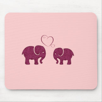 Adorable cheerful cute elephants in love mouse pad