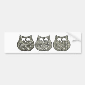 Adorable cheerful cute funny owls bumper sticker