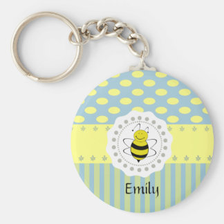 Adorable cheerful Cute trendy girly pattern bee Keychain