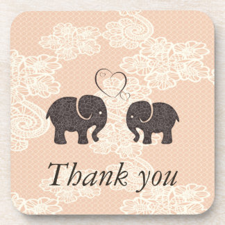Adorable cheerful elephants in love beverage coaster