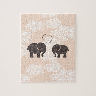 Adorable cheerful elephants in love jigsaw puzzle