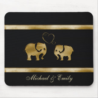 Adorable cheerful elephants in love mouse pad