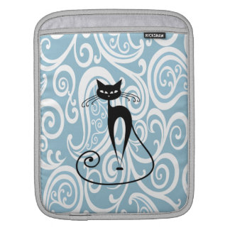 Adorable cheerful fun black cat gentle paisly sleeve for iPads