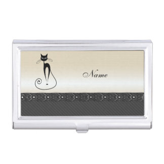 Adorable cheerful funny whimsical black cat business card case
