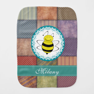 Adorable cheerful girly pachwork cartoon funny bee baby burp cloth