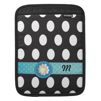 Adorable cheerful girly polka dots daisy monogram sleeve for iPads