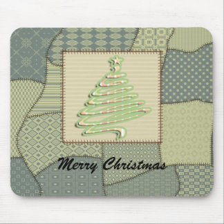 Adorable cheerful  patchwork  Christmas tree Mouse Pad