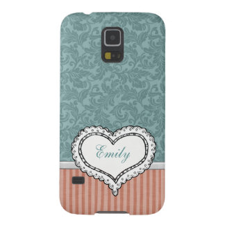 Adorable cheerful preppy damask heart monogram case for galaxy s5
