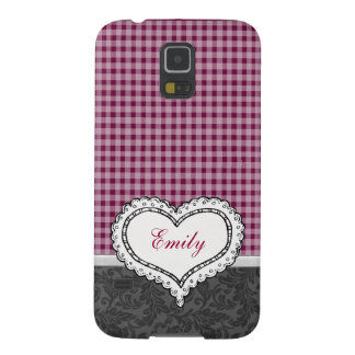 Adorable cheerful preppy damask heart monogram galaxy s5 cover