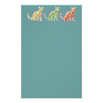Adorable cheerful retro vintage mosaic cute cats stationery