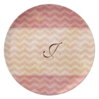 Adorable cheerful vintage leather look chevron melamine plate