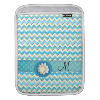 Adorable cheerful yellow turquoise chevron  daisy sleeve for iPads