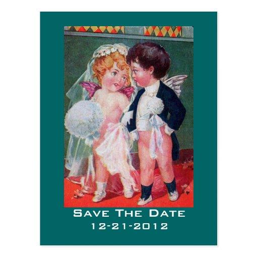 Adorable Cherub Babies Wedding Save The Date Postcard