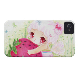 Adorable chibi girl with strawberry iPhone 4 cases