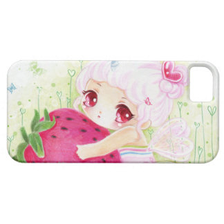 Adorable chibi girl with strawberry iPhone SE/5/5s case