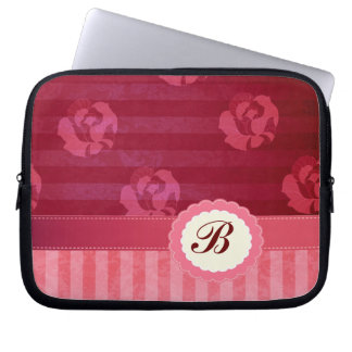 Adorable chic vintage roses stripes computer sleeve