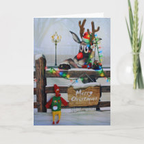 Adorable Chicken and Rudolph Christmas Card! Holiday Card