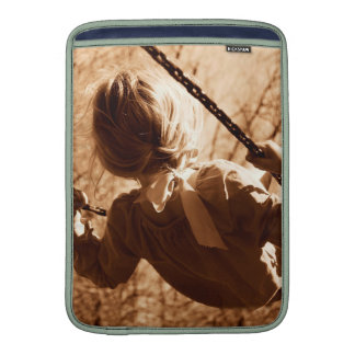Adorable Child Swing Happiness Sepia Sleeves For MacBook Air