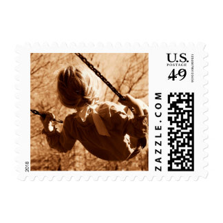 Adorable Child Swing Happiness Sepia Postage Stamp