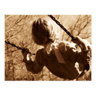 Adorable Child Swing Happiness Sepia Postcard
