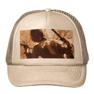 Adorable Child Swing Happiness Sepia Trucker Hat