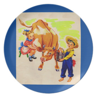 adorable children with adorable cow dinner plate