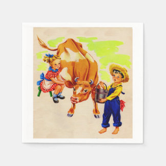 adorable children with adorable cow paper napkin