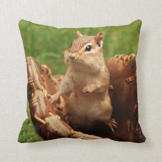 Adorable Chipmunk Playing Baseball Throw Pillow