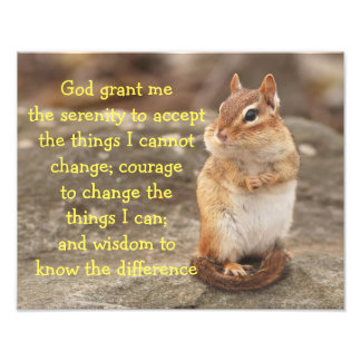 Adorable Chipmunk with Serenity Prayer Photo Print