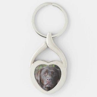 Adorable Chocolate Labrador Retriever Silver-Colored Heart-Shaped Metal Keychain