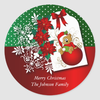 Adorable Christmas Bear Illustration Classic Round Sticker