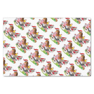 "Adorable Christmas Farm Animals in Santa Hats 10"" X 15"" Tissue Paper"