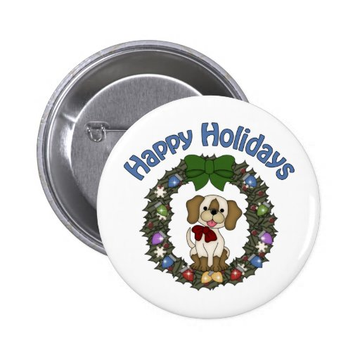 Adorable Christmas Holday Dog Wreath 2 Inch Round Button