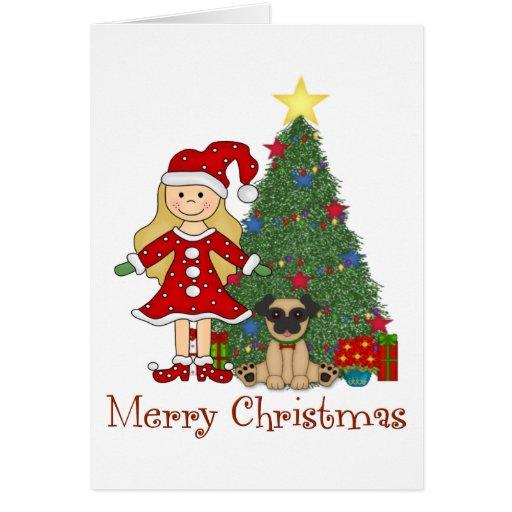 adorable christmas holiday elf and pug card