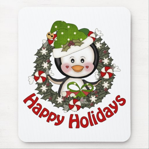 Adorable Christmas Holiday Penguin Wreaths Mouse Pad