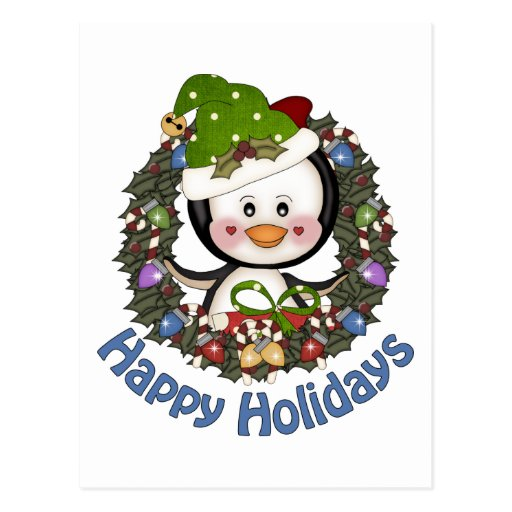 Adorable Christmas Holiday Penguin Wreaths Postcards