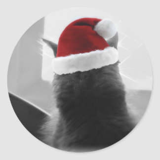 Adorable Christmas Kitten Classic Round Sticker