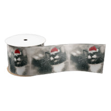 Adorable Christmas Kitten Satin Ribbon