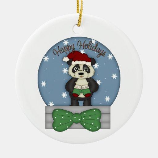 Adorable Christmas Panda Tees and Gifts Ornament