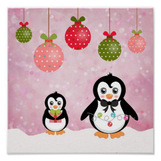 Adorable Christmas Penguins Pink Background Poster