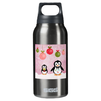Adorable Christmas Penguins Pink Background Thermos Water Bottle