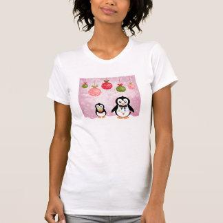 Adorable Christmas Penguins Pink Background Tshirt